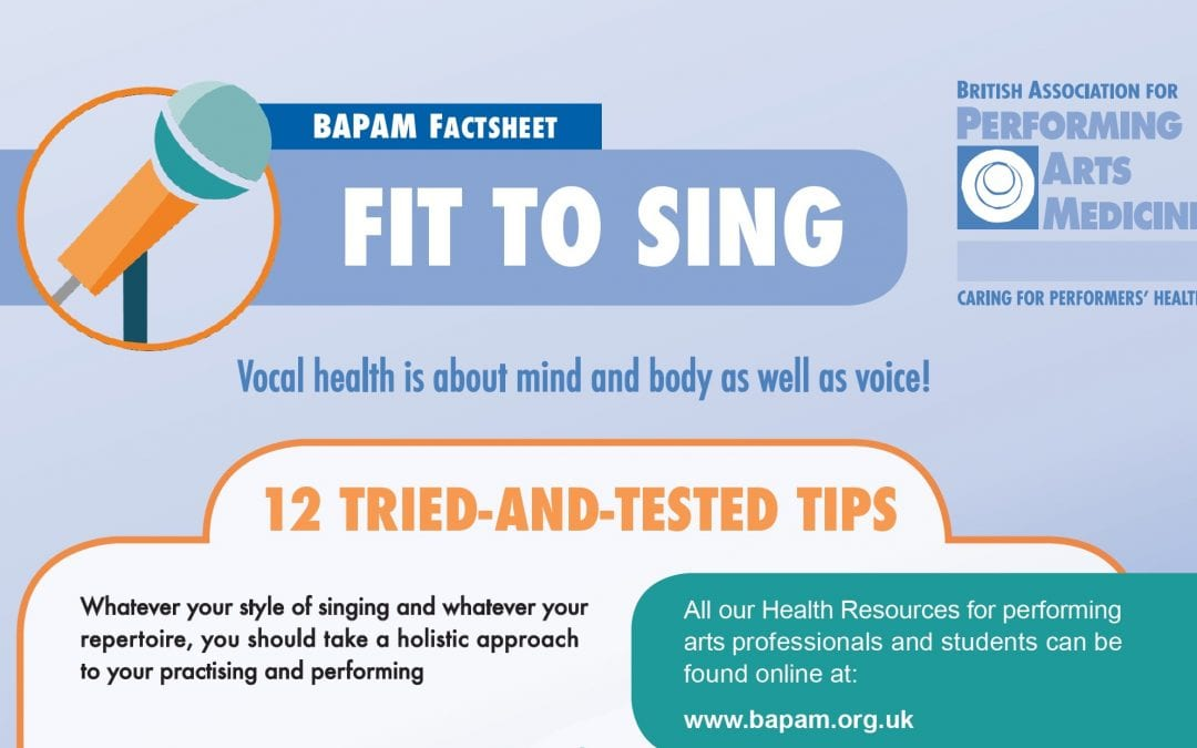Fit to Sing! BAPAM Vocal Health Factsheet Updated